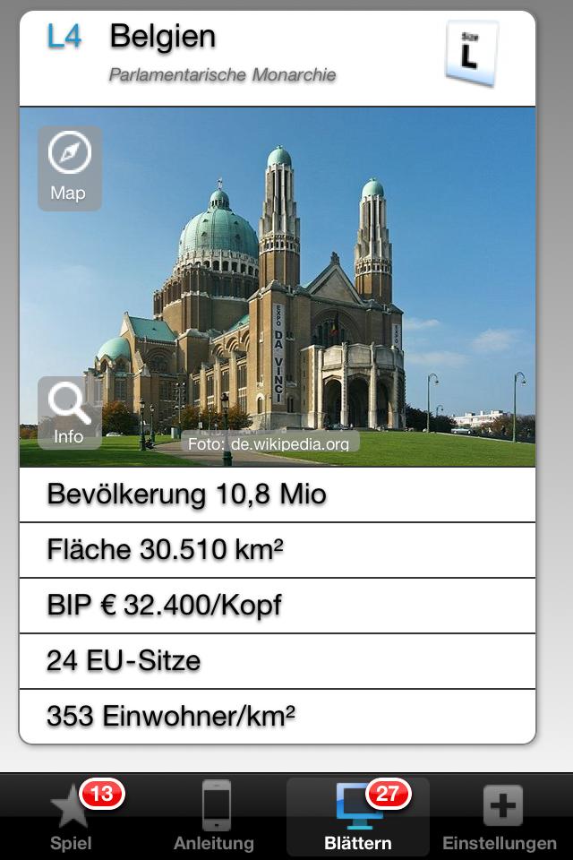 """Screenshot """"Size EU"""" – Die Größenverhältnisse der 27 Länder der Europäischen Union kennenlernen"""